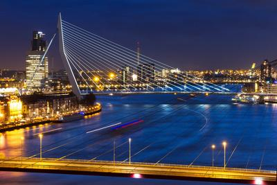 Beautiful Twilight View on the Bridges over the River Maas (Meuse) in Rotterdam, the Netherlands