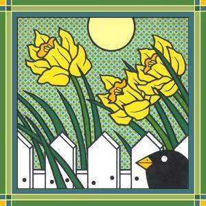 Daffodils 2 with Kernal the Crow by Denny Driver