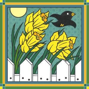 Daffodils 3 with Kernal the Crow by Denny Driver