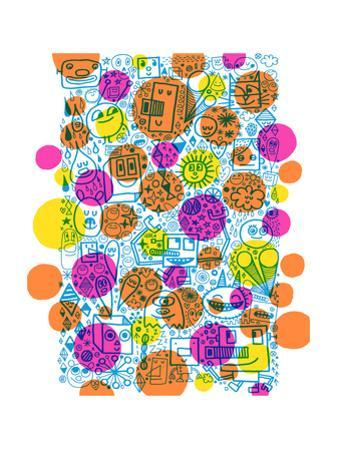 Dense Outline Pattern Covered with Colorful Dots