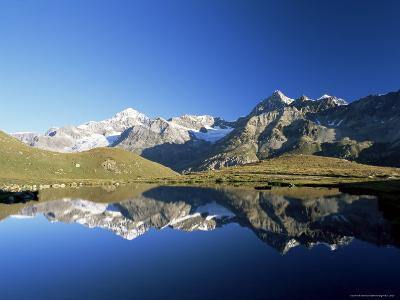 Dent Blanche and Ober Gabelhorn Reflected in Lake, Zermatt, Valais, Switzerland-Ruth Tomlinson-Photographic Print