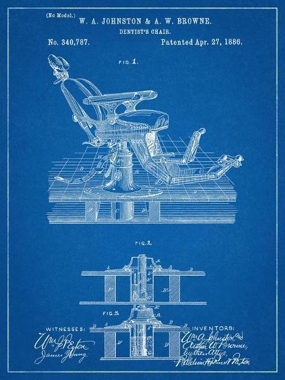 Dentists Chair Patent 1886--Art Print