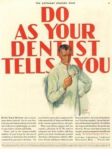 Dentists Lavoris Do As Your Dentist Tells You, USA, 1920
