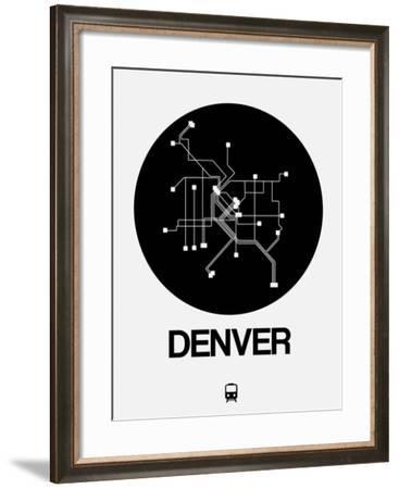 Denver Black Subway Map-NaxArt-Framed Art Print