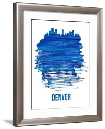 Denver Brush Stroke Skyline - Blue-NaxArt-Framed Art Print