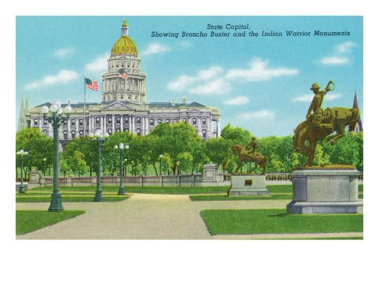 Denver, CO, State Capitol and Grounds, Bronco Buster and Indian Warrior Monuments View-Lantern Press-Art Print