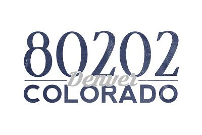 Denver, Colorado - 80202 Zip Code (Blue)-Lantern Press-Art Print
