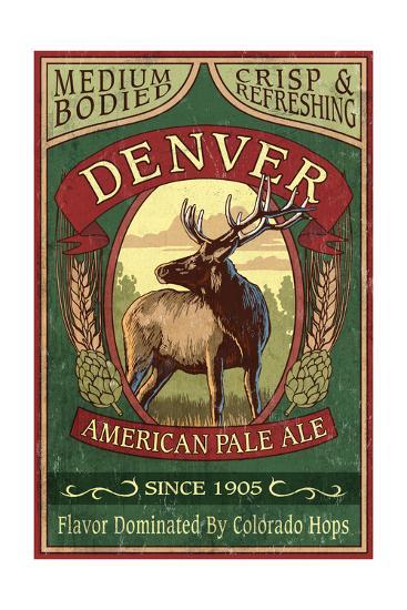 Denver, Colorado - Elk Head Pale Ale Vintage Sign-Lantern Press-Art Print