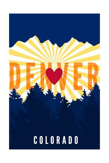 Denver, Colorado - Heart and Treeline (Vertical)-Lantern Press-Art Print