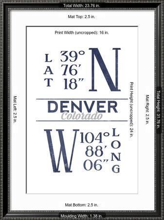denver colorado latitude and longitude blue art print lantern press art com art com