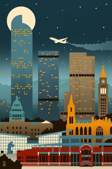 Denver, Colorado - Retro Skyline (no text)-Lantern Press-Art Print