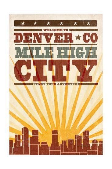 Denver, Colorado - Skyline and Sunburst Screenprint Style-Lantern Press-Art Print