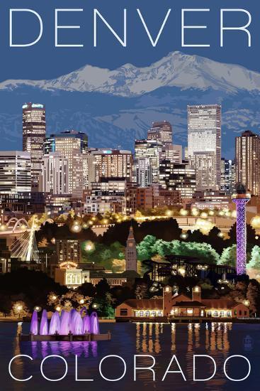 Denver, Colorado - Skyline at Night-Lantern Press-Art Print