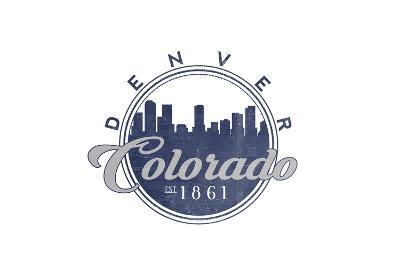 Denver, Colorado - Skyline Seal (Blue)-Lantern Press-Art Print