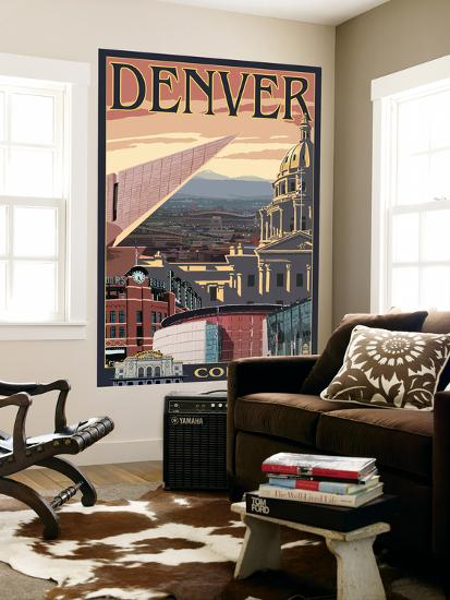 Denver, Colorado - Skyline View-Lantern Press-Wall Mural
