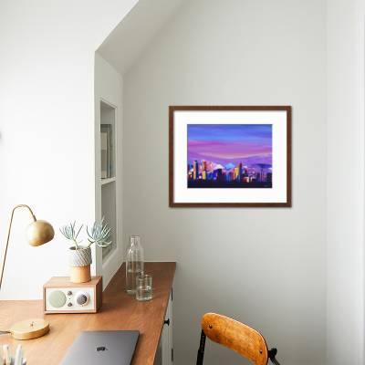 Denver Colorado Sunset Mood With Mountains Art Print M Bleichner Art Com