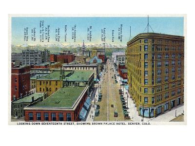Denver, Colorado - View Down 17th Street Showing Brown Palace Hotel-Lantern Press-Art Print
