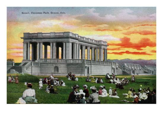 Denver, Colorado, View of a Sunset Scene in a Crowded Cheesman Park-Lantern Press-Art Print
