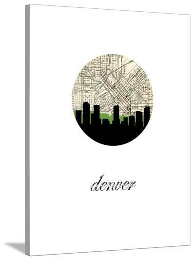 Denver Map Skyline-Paperfinch 0-Stretched Canvas Print