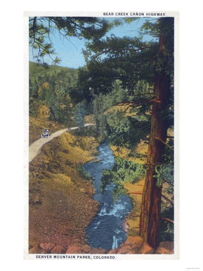 Denver Mountain Park, CO - Bear Creek Canyon Highway View-Lantern Press-Art Print