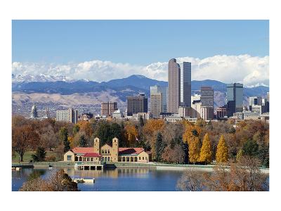 Denver Park Lake and Rockies--Art Print
