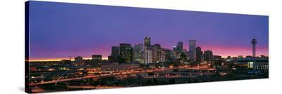 Denver Skyline at Night--Stretched Canvas Print