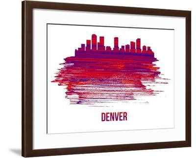 Denver Skyline Brush Stroke - Red-NaxArt-Framed Art Print