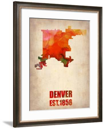 Denver Watercolor Map-NaxArt-Framed Art Print