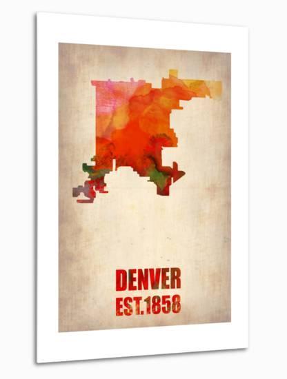 Denver Watercolor Map-NaxArt-Metal Print