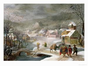 A Winter Landscape with Travellers on a Path by Denys van Alsloot