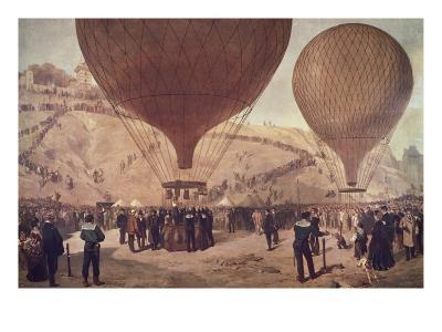 Départ de Gambetta pour Tours sur l'Armand-Barbès, le 7 octobre 1870, à Montmartre-Jules Didier-Giclee Print