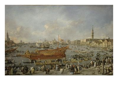 Départ du Bucentaure vers le Lido de Venise, le jour de l'Ascension-Francesco Guardi-Giclee Print