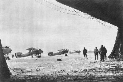 Departure of French Breguet Planes for a Reconnaissance Mission During Winter, 1914-1918--Giclee Print