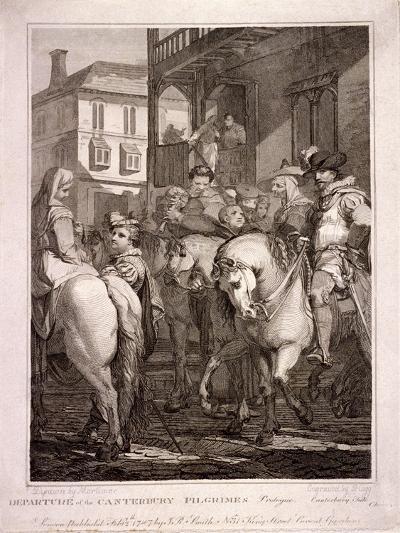 Departure of the Canterbury Pilgrims, Borough High Street, Southwark, London, 1787-T Hogg-Giclee Print
