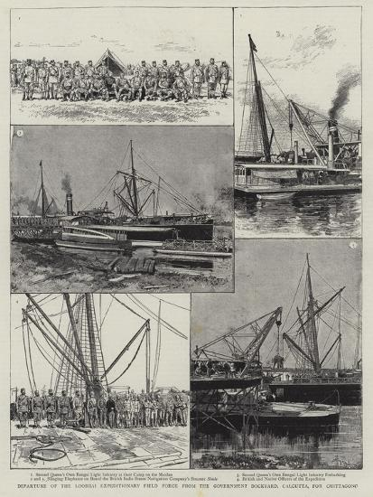 Departure of the Looshai Expeditionary Field Force from the Government Dockyard-Adrien Emmanuel Marie-Giclee Print