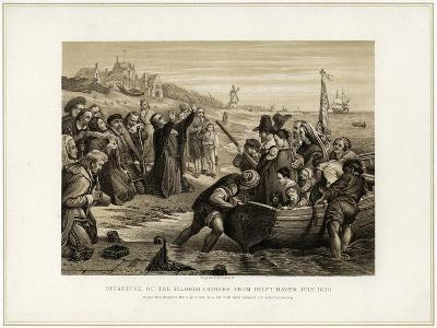 Departure of the Pilgrim Fathers from Delft Haven, July 1620-T Bauer-Giclee Print