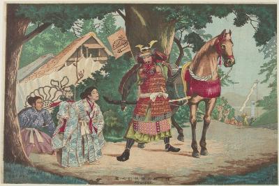 Departure of the Warrior Kusunoki at the Sakurai Station, C. 1880-1899-Kobayashi Kiyochika-Giclee Print