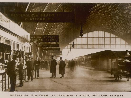 Departure Platform, St Pancras Station, London. Midland Railway--Photographic Print