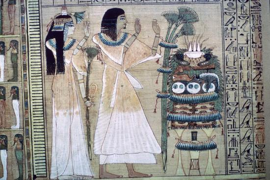 Depiction of a man and his wife making offerings to Osiris-Unknown-Giclee Print
