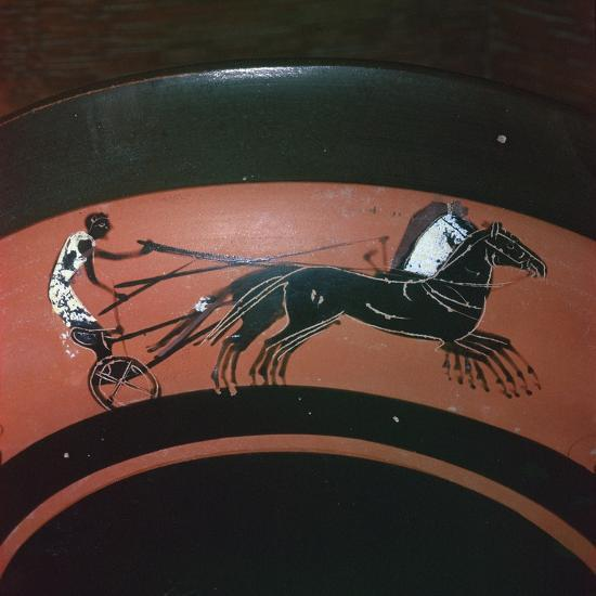 Depiction of chariot-racing on an Attic kylix, 6th century BC. Artist: Unknown-Unknown-Giclee Print