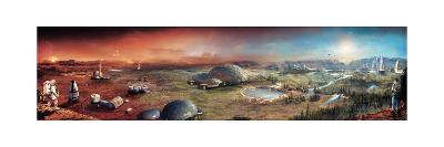 Depiction of Terraforming Transformation of Mars' Surface-Stephan Morrell-Giclee Print