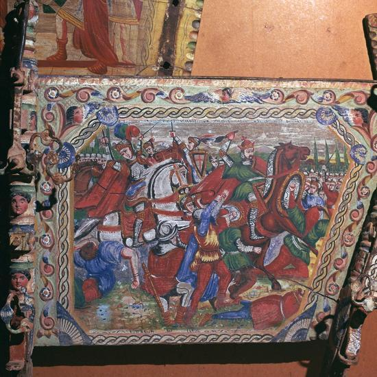 Depiction of the battle of Capua in 1501 on a painted cart, 16th century. Artist: Unknown-Unknown-Giclee Print
