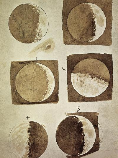 Depiction of the Different Phases of the Moon Viewed from the Earth-Galileo-Art Print