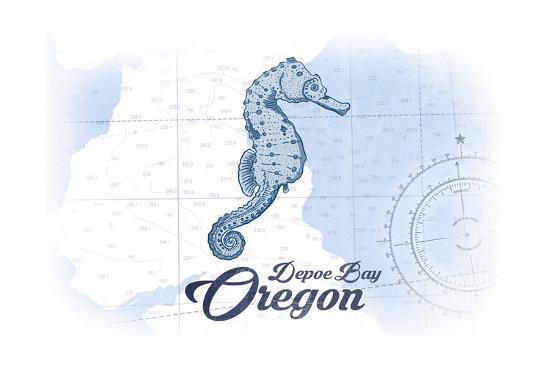 Depoe Bay, Oregon - Seahorse - Blue - Coastal Icon-Lantern Press-Art Print