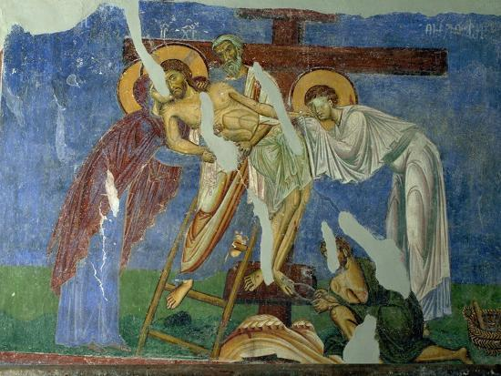Deposition and Lamentation, circa 1164, Byzantine Fresco--Giclee Print