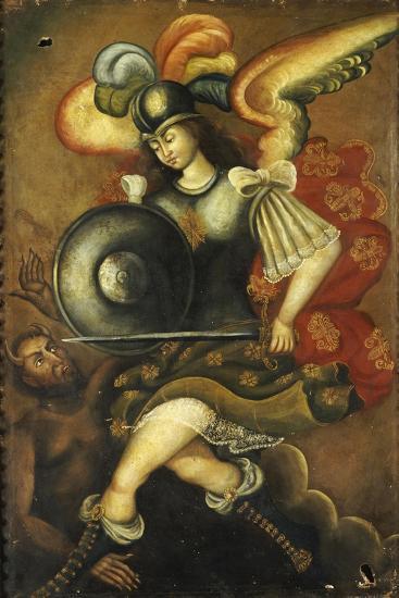 Der Erzengel Michael Und Der Teufel- Peruvian-Giclee Print
