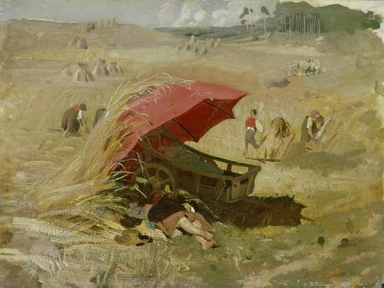Der rote Schirm. Um 1860-Franz Von Lenbach-Giclee Print