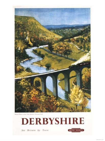 Derbyshire, England - Monsal Dale, Train and Viaduct British Rail Poster-Lantern Press-Art Print