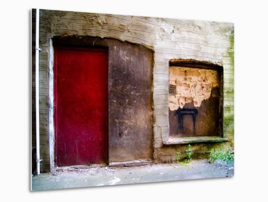 Derelict Door and Window with Graffiti-Clive Nolan-Metal Print