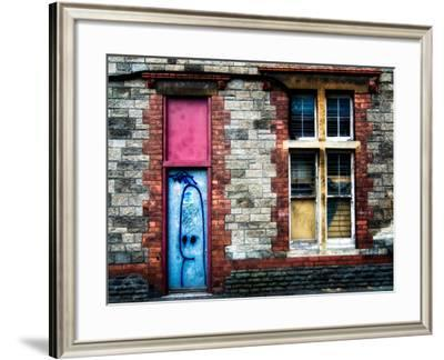 Derelict Door and Window with Graffiti-Clive Nolan-Framed Photographic Print